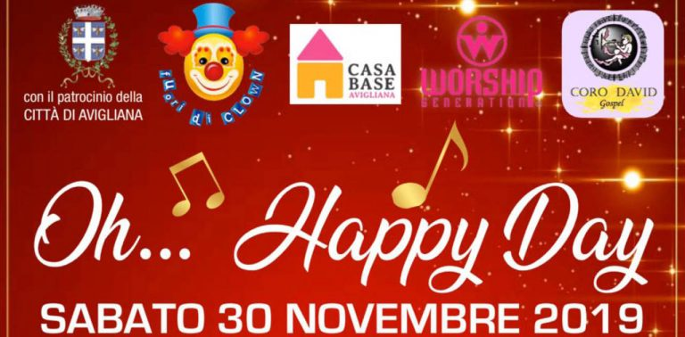 Banner Oh Happy Day Gospel - Casa Base Avigliana